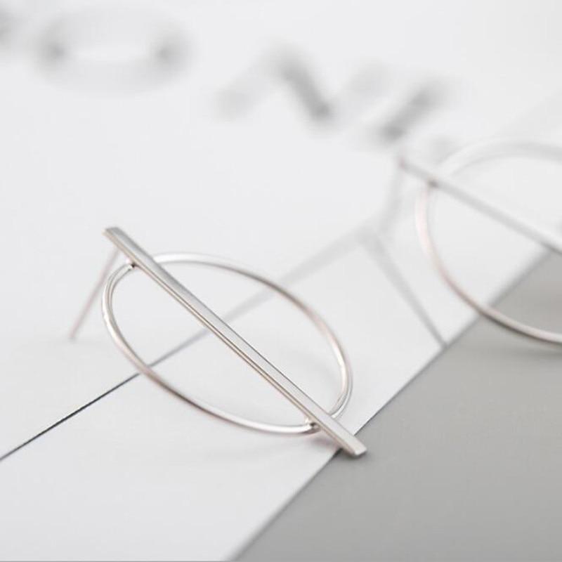 [해외]Small Simple Temperament 925 Sterling Silver Fashion Jewelry Aesthetic Geometric Round Hollow Earrings  SE148/Small Simple Temperament 925 Sterlin