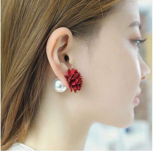 [해외]Korean Suede Double Side Flower Simulated Pearl Stud Earrings Fashion Jewelry Earrings for Women Pendientes Brincos Gift 037/Korean Suede Double S
