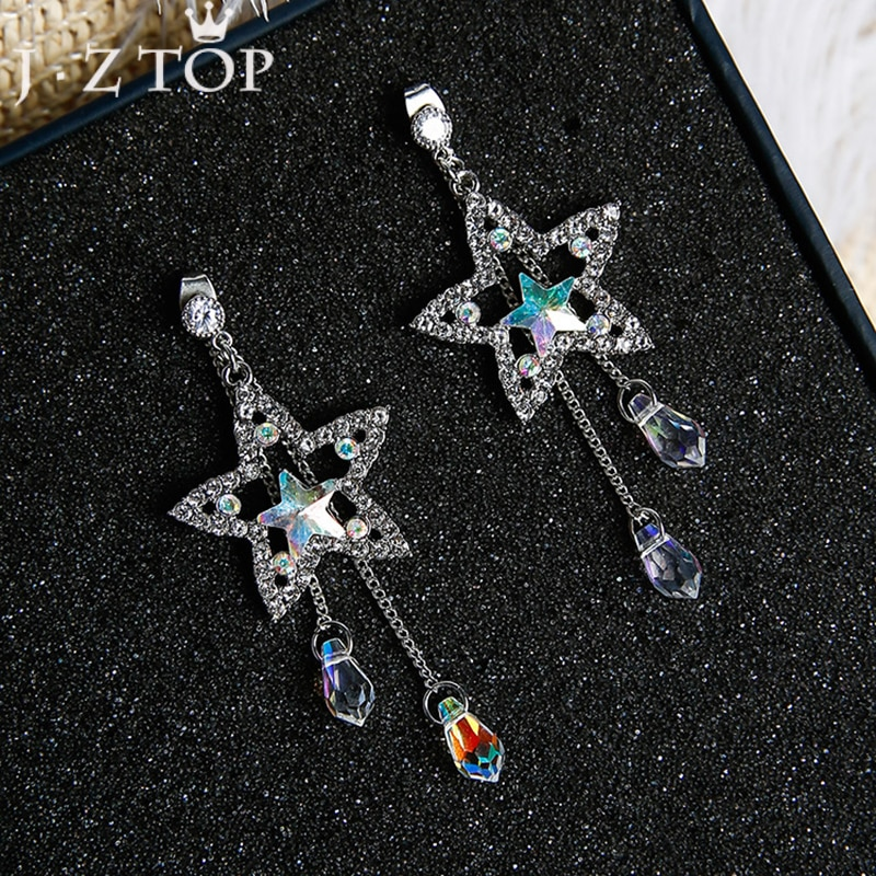 [해외]JZTOP Fashion Crystal Tassel Earrings Five Pointed Star Pendant Long Stud Earrings For Woman Boucle D`oreille Jewelry/JZTOP Fashion Crystal Tassel