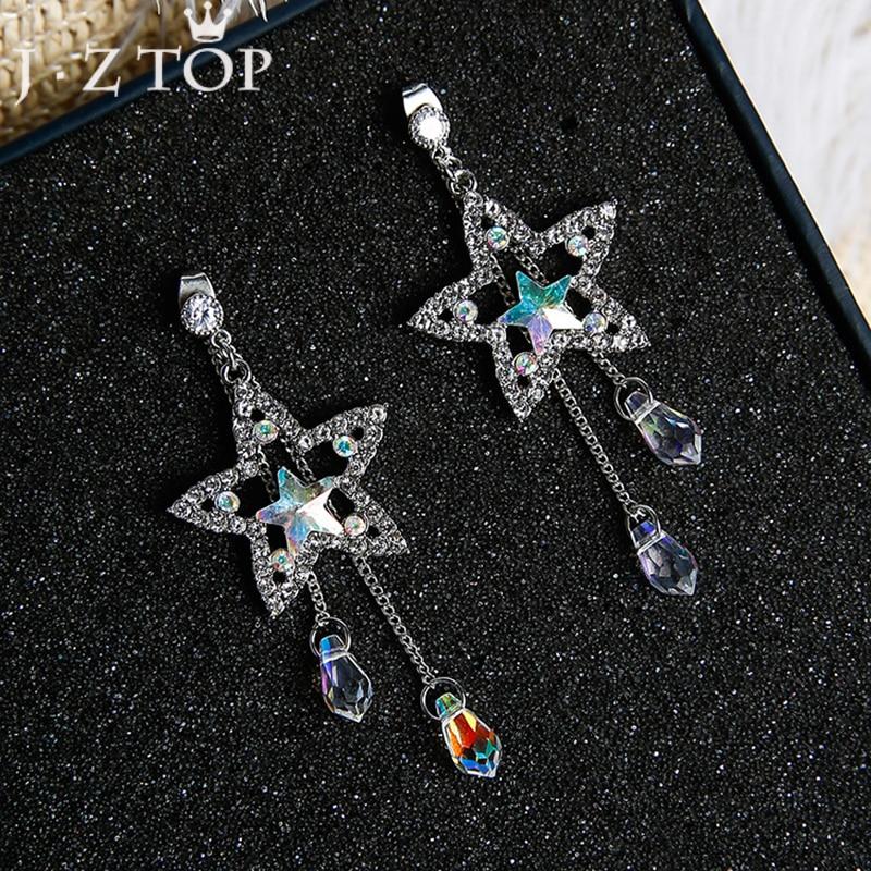 [해외]JZTOP Fashion Crystal Tassel Earrings Five Pointed Star Pendant Long Stud Earrings For Woman Boucle D`oreille Jewelry/JZTOP Fashion Crystal Tassel