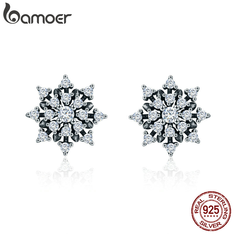 [해외]BAMOER  100% 925 Sterling Silver Romantic Snowflake Luminous CZ Stud Earrings for Women Fine Silver Jewelry SCE346/BAMOER  100% 925 Sterling Silve