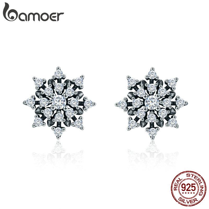 [해외]BAMOER  100% 925 Sterling Silver Romantic Snowflake Luminous CZ Stud Earrings for Women Fine Silver Jewelry SCE346/BAMOER  100% 925 Sterling Silve
