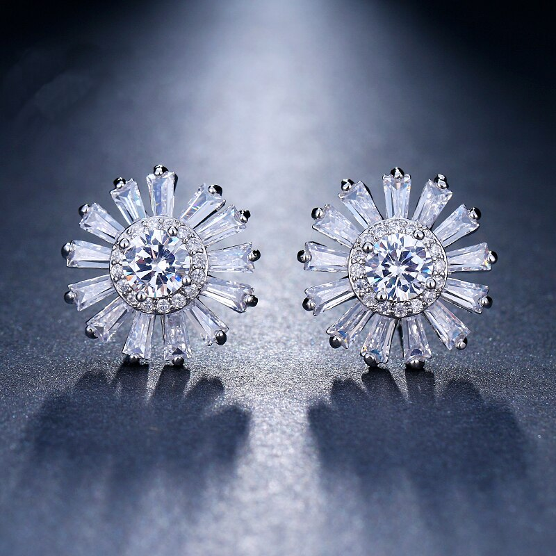 [해외]Emmaya Fashion 3 Colors Design Flower Top Quality Cubic Zircon Stud Earring  Luxury Gift for Women Jewelry Wedding /Emmaya Fashion 3 Colors Design
