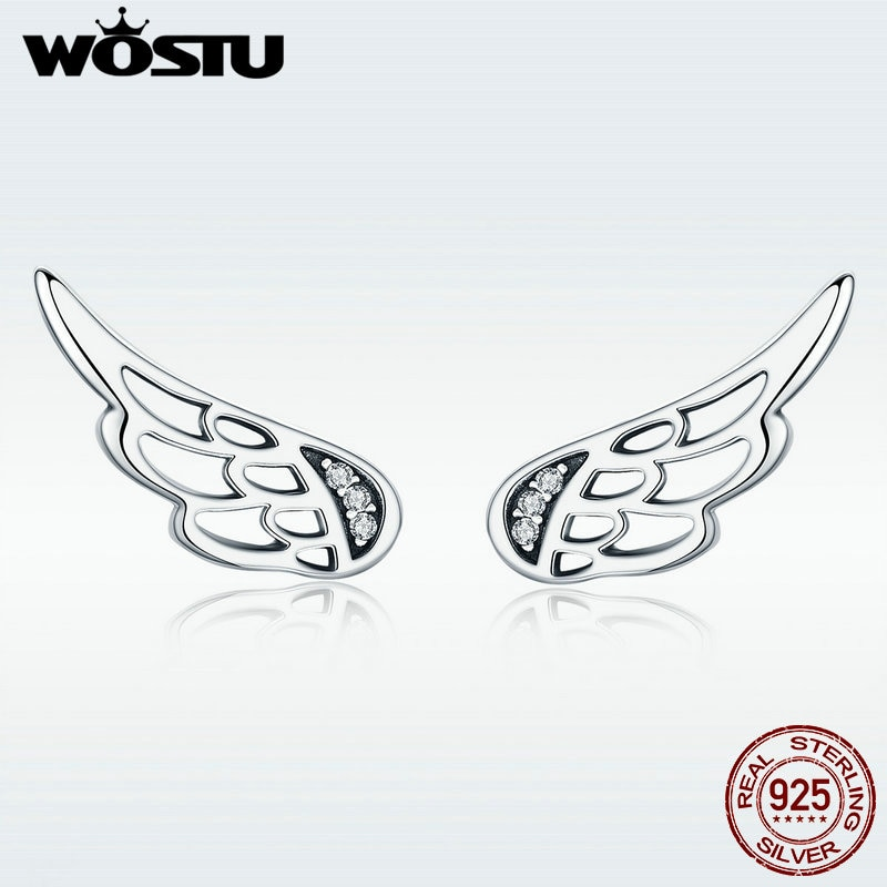 [해외]WOSTU Original Design Real 925 Sterling Silver Fairy Wings Feathers Stud Earrings for Women S925 Silver Jewelry Gift DXE343/WOSTU Original Design