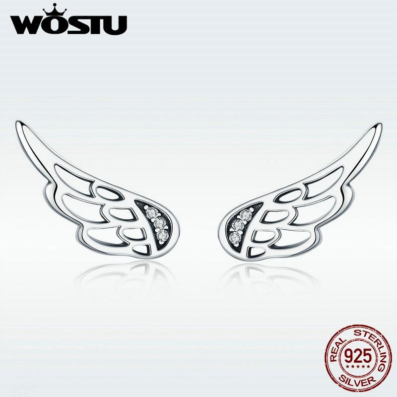 [해외]WOSTU Original Design Real 925 Sterling Silver Fairy Wings Feathers Stud Earrings for Women S925 Silver Jewelry Gift DXE343/WOSTU Original Design