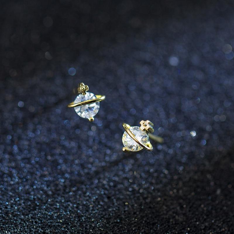 [해외]MloveAcc Genuine 100% 925 Sterling Silver Luminous Clear CZ Saturn Stud Earrings Fashion Gold Color Women Silver Earrings/MloveAcc Genuine 100% 92