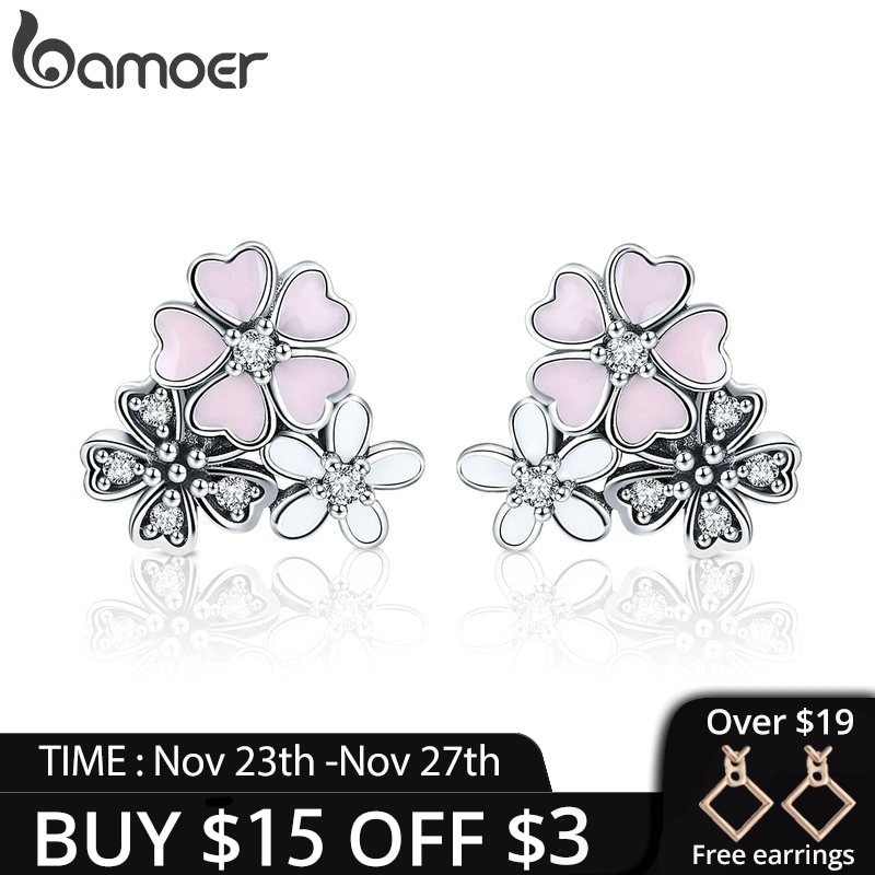 [해외]BAMOER 100% 925 Sterling Silver Pink Daisy Cherry Blossoms Flower Stud Earrings for Women Sterling Silver Jewelry Gift SCE400/BAMOER 100% 925 Ster