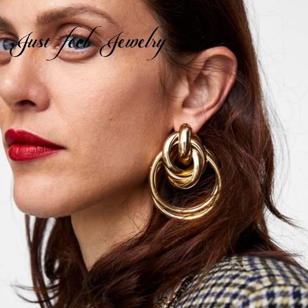 [해외]JUST FEEL Punk Geometric Circle Stud Earrings Gold Color Alloy 2018 Fashion Statement Minimalist Earring For Women Party Jewelry/JUST FEEL Punk Ge
