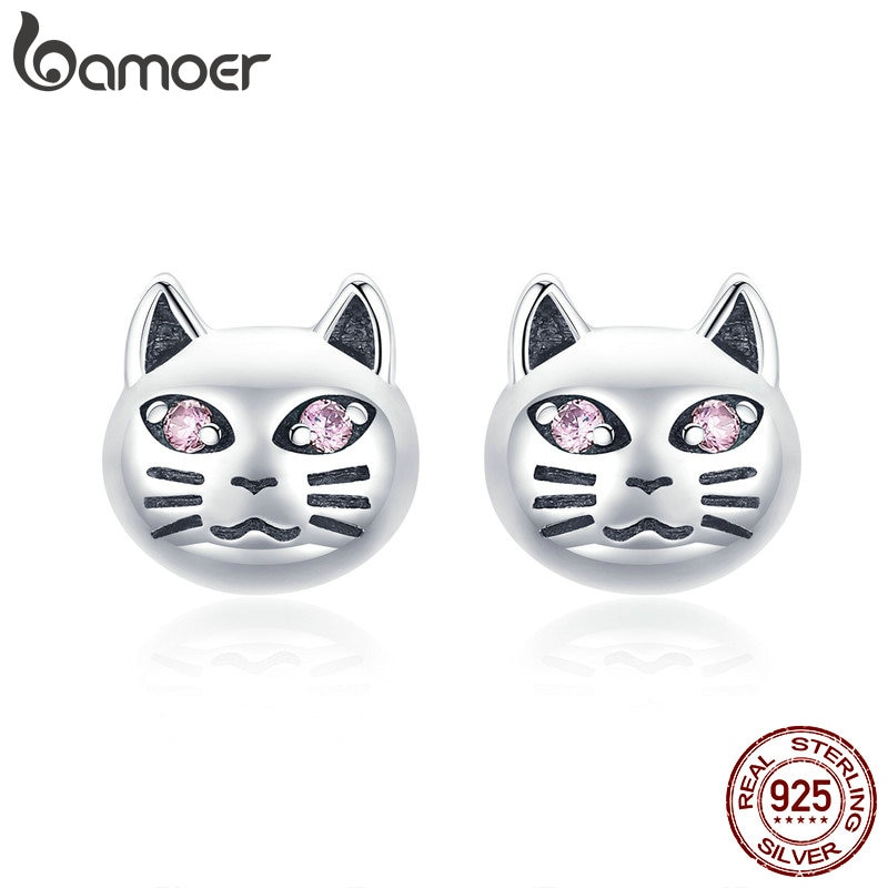 [해외]BAMOER Authentic 925 Sterling Silver Vintage Sticky Cat Small Stud Earrings for Women Sterling Silver Jewelry Gift SCE440/BAMOER Authentic 925 Ste