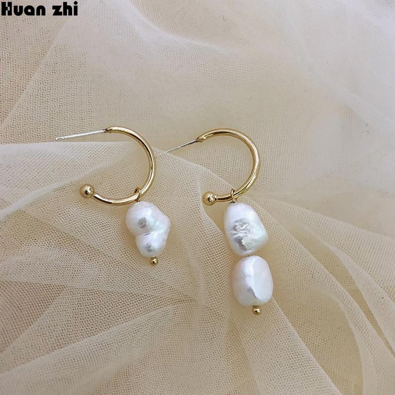 [해외]HUANZHI New S925 Sterling Silver Pin Natural Freshwater Irregular Pearl Asymmetry Stud Earrings for Women Girl Student Gift /HUANZHI New S925 Ster