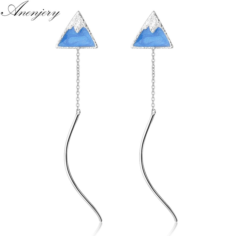 [해외]Anenjery 925 Sterling Silver Blue Drop Glaze Triangle Mountain Tassel Earrings For Women S-E680/Anenjery 925 Sterling Silver Blue Drop Glaze Trian