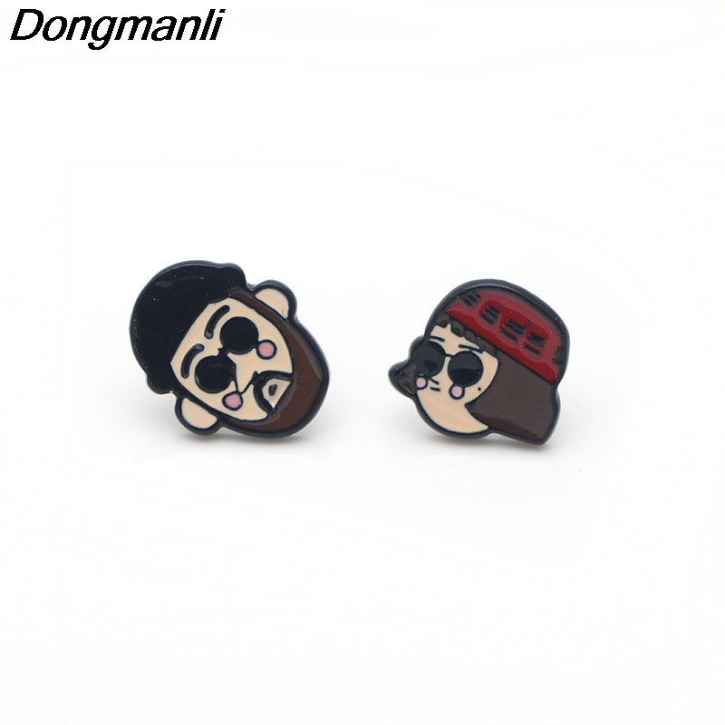 [해외]P3204 Dongmanli Korea Leeon Stud Earrings For Womens Enamel  Stainless Steel Pierce Earrings Jewelry Gifts Girls/P3204 Dongmanli Korea Leeon Stud