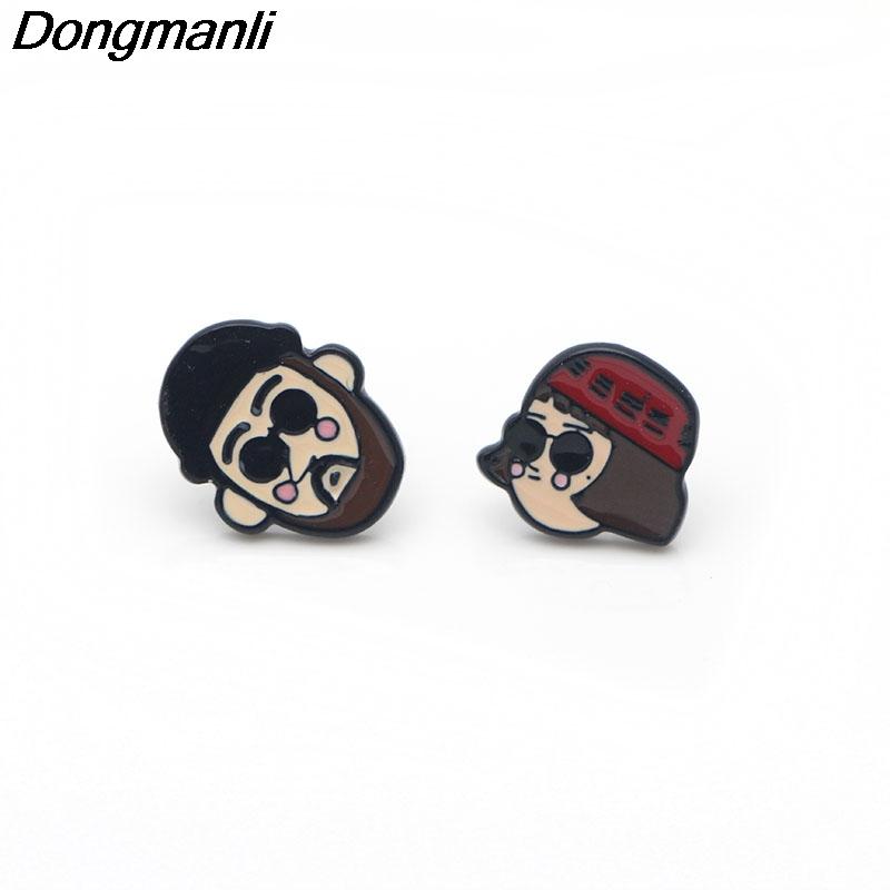 [해외]P3204 Dongmanli Korea Leeon Stud Earrings For Womens Enamel  Stainless Steel Pierce Earrings Jewelry Gifts Girls/P3204 Dongmanli Korea Leeon Stud