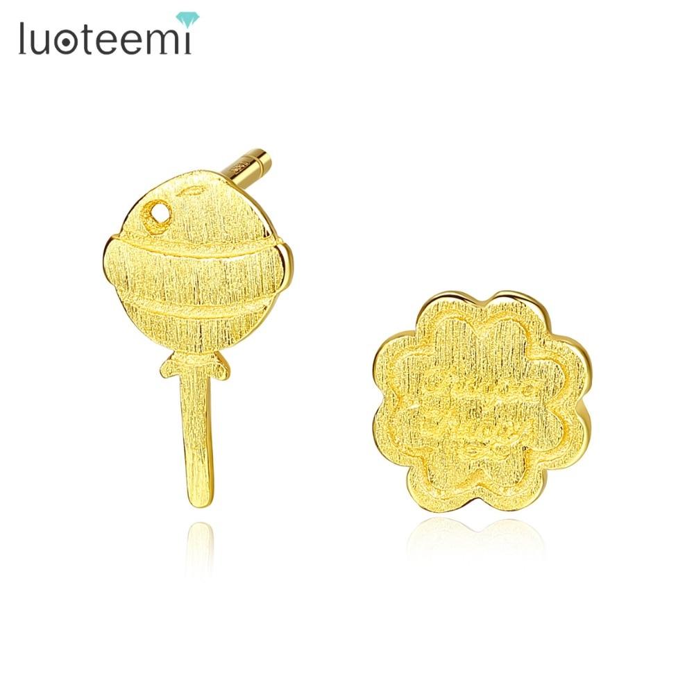 [해외]LUOTEEMI Authentic 925 Sterling Silver Cute Cartoon Stud Earrings for Women Gold or Silver Asymmetrical Female Jewelry Aretes/LUOTEEMI Authentic 9