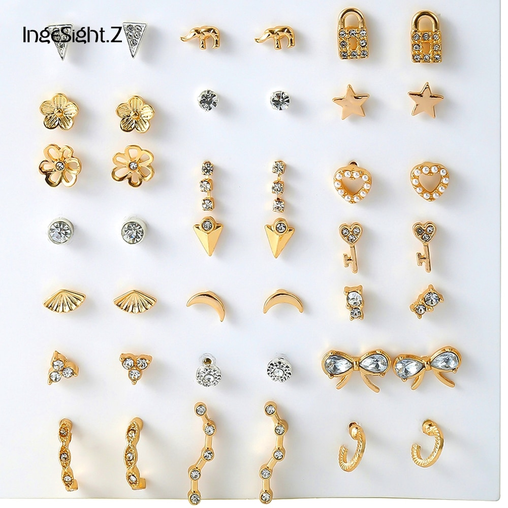 [해외]IngeSight.Z 42Pcs/Set Fashion Crystal Lock Bowknot Stud Earrings Simple Geometric Triangle Moon Earrings Set for Women Jewelry/IngeSight.Z 42Pcs/S