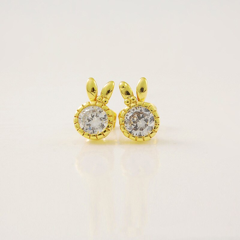 [해외]Gold Color Rabbit Crystal Stud Earrings For Women Female Authentic Original Jewelry /Gold Color Rabbit Crystal Stud Earrings For Women Female Auth
