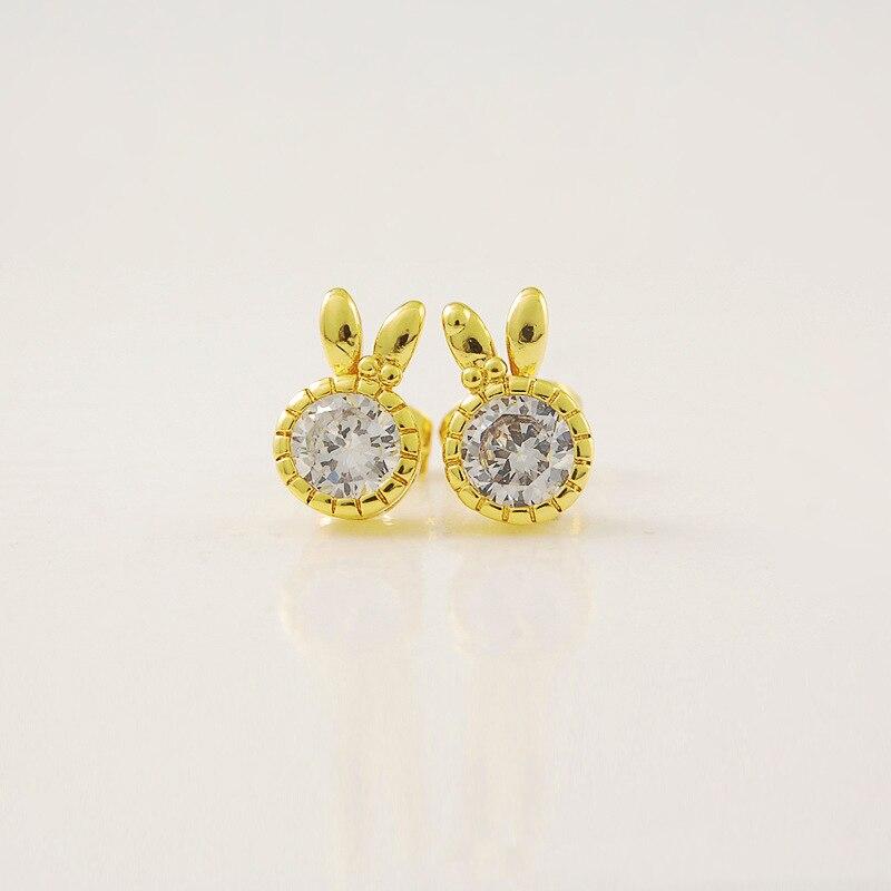 [해외]Gold Color Rabbit Crystal Stud Earrings For Women Female Authentic Original Jewelry /Gold Color Rabbit Crystal Stud Earrings For Women Female Auth