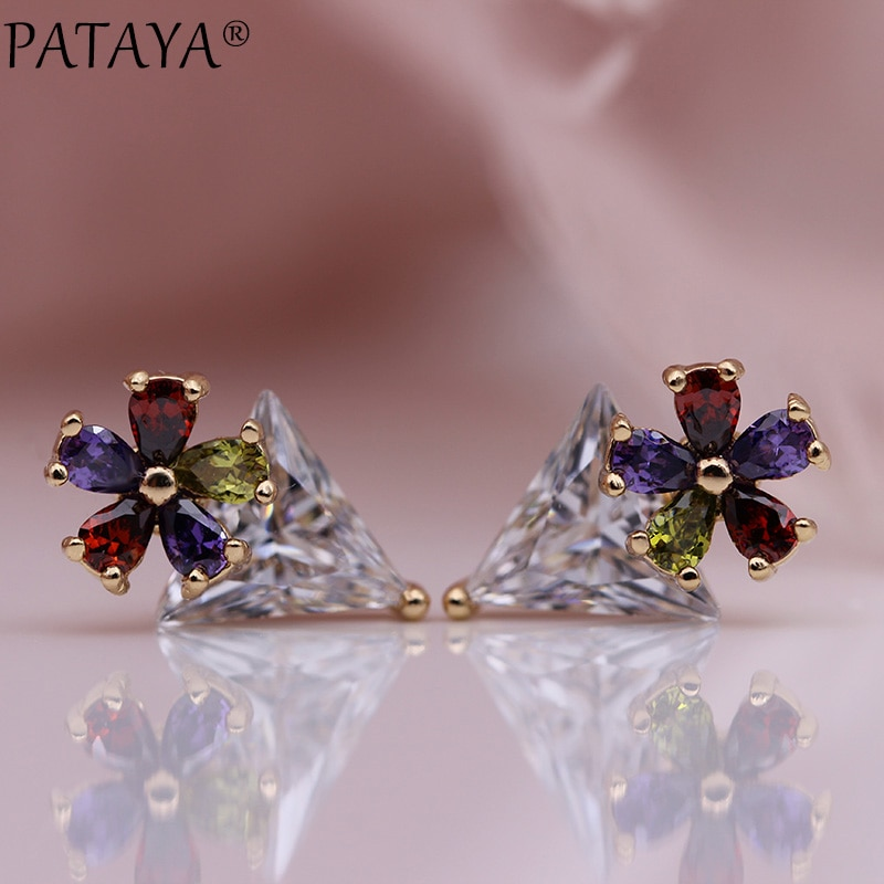 [해외]PATAYA New White Triangle Stud Earrings 585 Rose Gold Multicolor Water Drop Natural Zircon Women Fashion Jewelry Simple Earrings/PATAYA New White