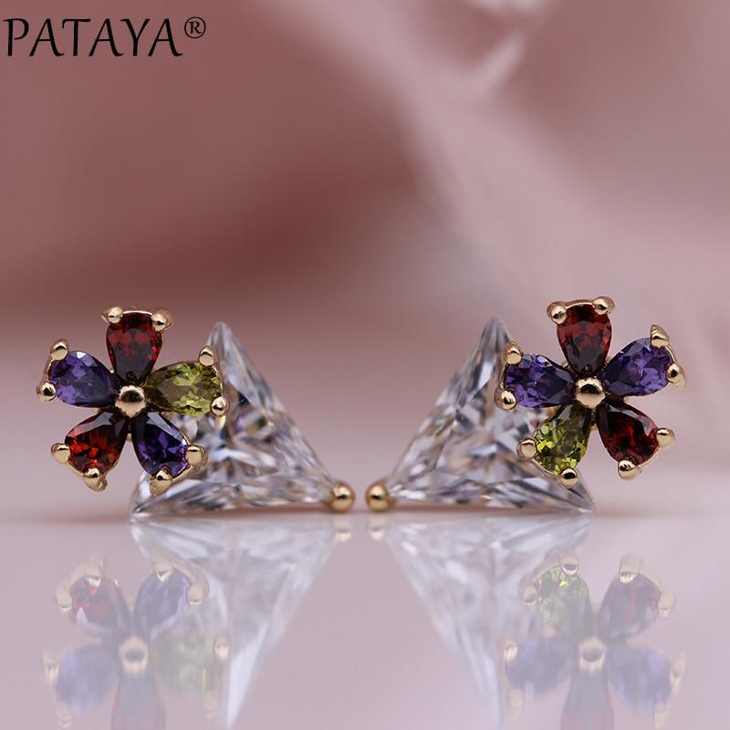 [해외]PATAYA New White Triangle Stud Earrings 585 Rose Gold Multicolor Water Drop Natural Zircon Women Fashion Jewelry Simple Earrings/PATAYA New White