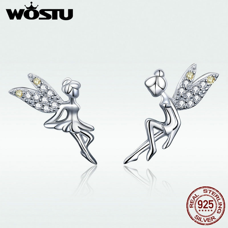 [해외]WOSTU Classic 925 Sterling Silver Spring Fairy Elf CZ Stud Earrings For Women Tiny Earrings Wedding Silver Jewelry Gift DAE046/WOSTU Classic 925 S
