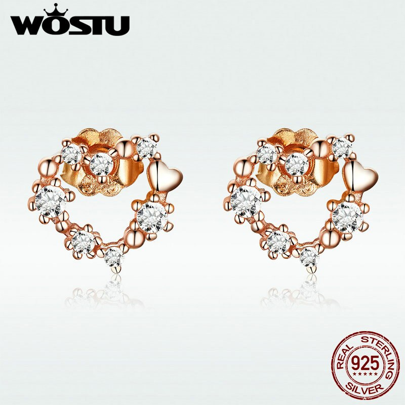 [해외]WOSTU Luxury Style 100% 925 Sterling Silver Rose Gold Heart Stud Earrings Zircon Small Earrings For Women Wedding Jewelry DXE575/WOSTU Luxury Styl