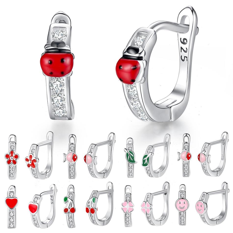 [해외]100% 925 Sterling Silver Jewelry Kids Earrings Exquisite Enamel Cute Animal Ladybug Flower Cherry Stud Earrings Gift for Girl/100% 925 S