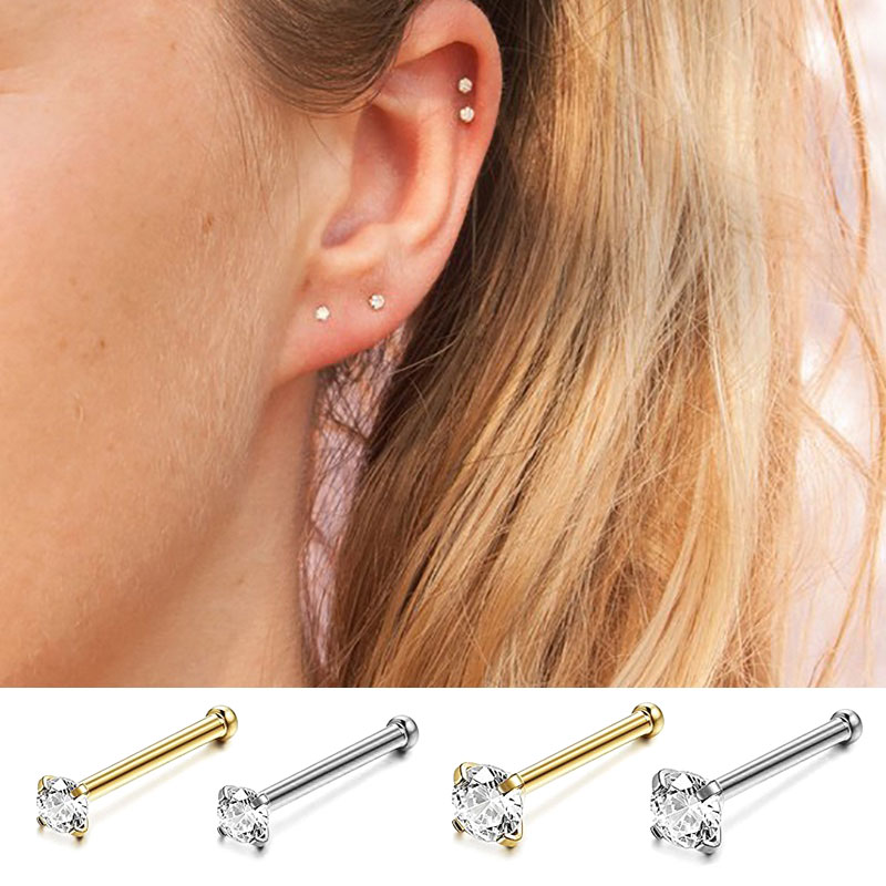 [해외]New 100% 925 Sterling Silver Clear CZ Stud small mini korean Earrings for Women Ear bone Girls party silver gold jewelry 2019/New 100% 9