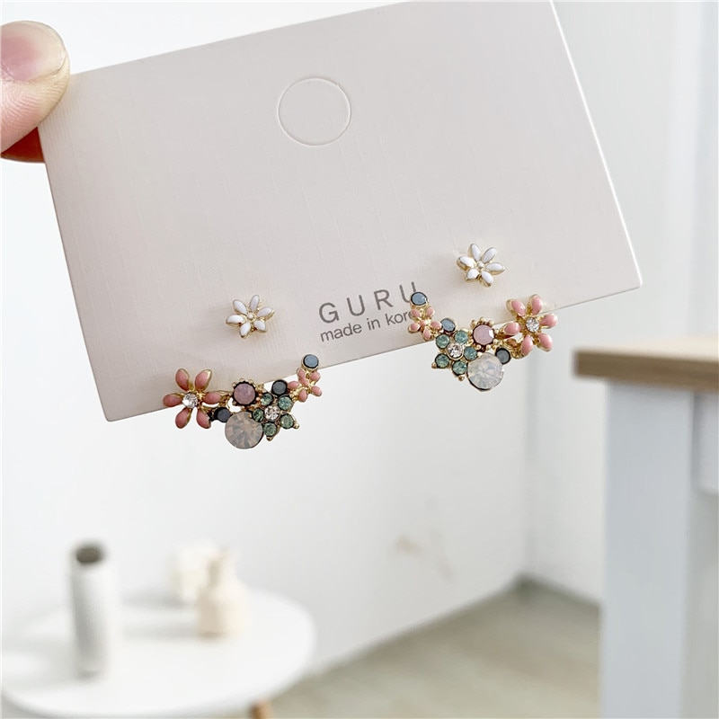 [해외]2019 Korean hot fashion jewelry fresh cute hook drop oil flower stud earrings crystal earring for women/2019 Korean hot fashion jewelry