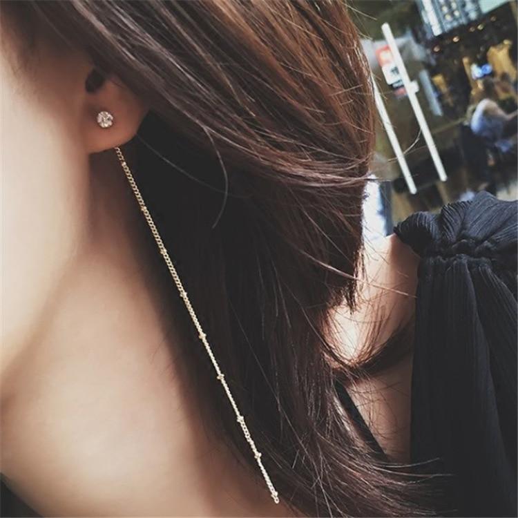 [해외]여성 패션 쥬얼리 귀에 귀걸이 귀걸이를 교수형 후 최고 품질의 간단한 OL 스타일 지르콘 매듭 술의 긴 체인 드롭 귀걸이/Top Quality Simple OL Style Zircon Knot Tassel Long Chain Drop Earrings After