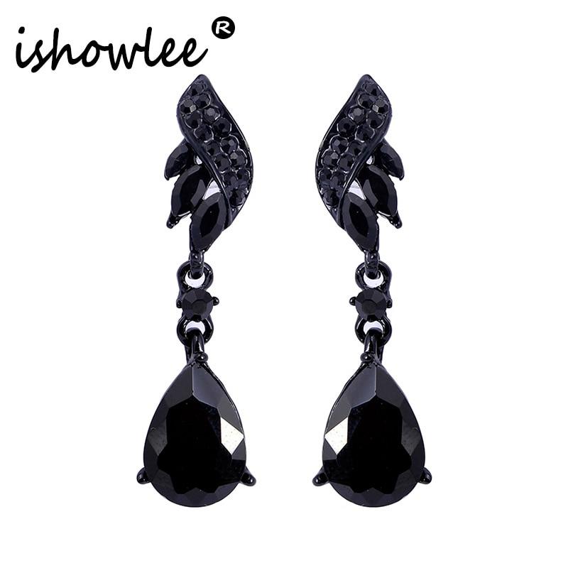 [해외]ISHOWLEE Black Crystal Water Drop Wedding Earrings for Women Big Stones Wings Earrings Brand 2019 Trendy Large Jewelry esh20/ISHOWLEE Black Crysta
