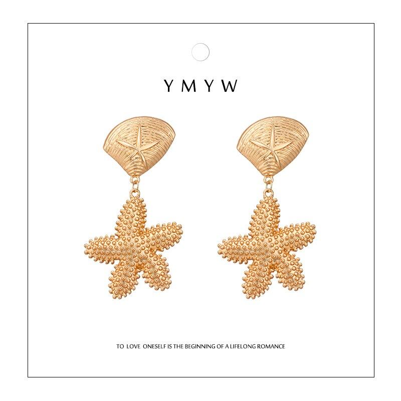 [해외]YMYW Fashion Chic Shell Starfish Metalic Dangle Earrings of Women Zinc Alloy Gold Earrings Bijoux Boucle D`Oreille Femme 2019/YMYW Fashion Chic Sh