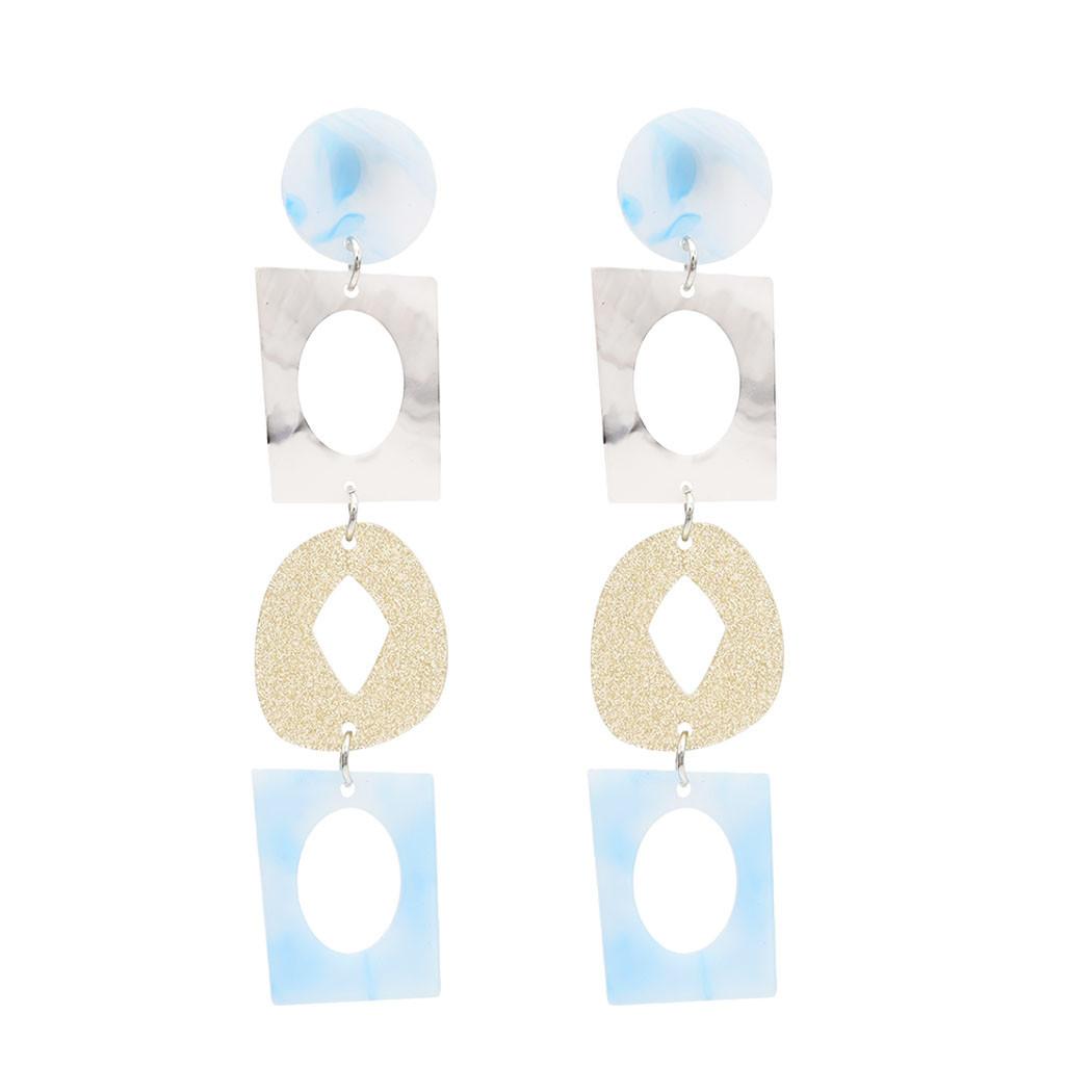 [해외]Rectangular long geometric Earrings 2019 For Women Lover Fashion Drop Acrylic Dangling Wedding Geometric Jewelry Classic Resin/Rectangular long ge