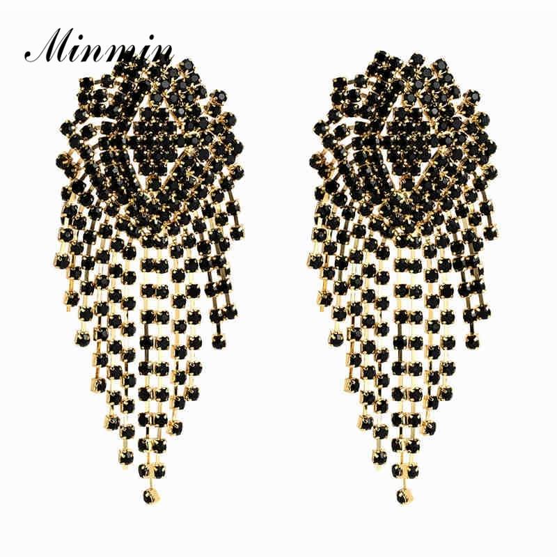 [해외]Minmin Statement 5 Colors Crystal Big Long Tassel Drop Earrings for Women Luxury Rhinestone Earrings Fashion Jewelry 2019 EH1246/Minmin Statement