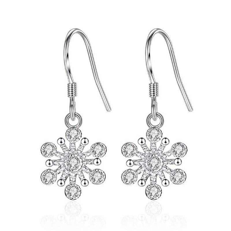[해외]2019 New fashion silver earrings love happy clover crystal flower woman silver plated earrings 925 jewelry girl gifts 1Y558/2019 New fashion silve