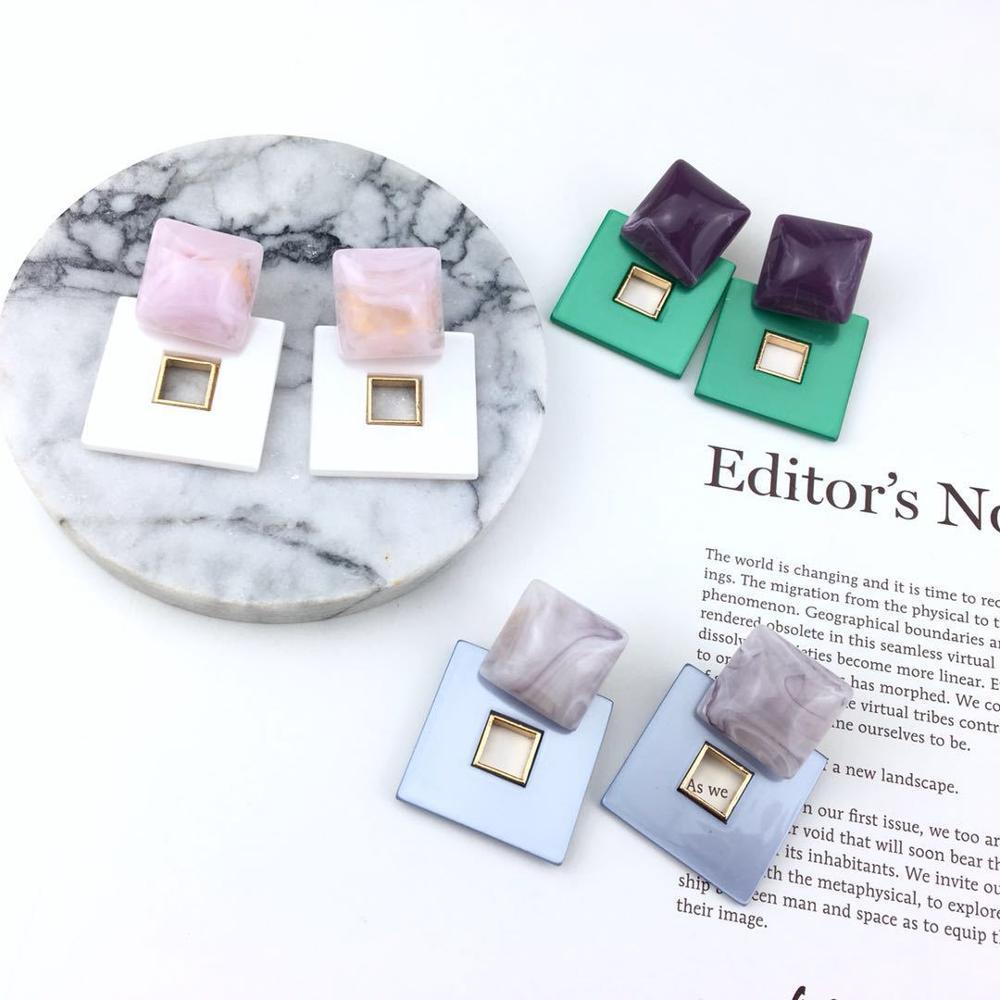 [해외]8Seasons New Fashion Double Layer Square Geometric Acrylic Resin Drop Earrings Hollow Out For Women Party Statement Jewelry/8Seasons New Fashion D
