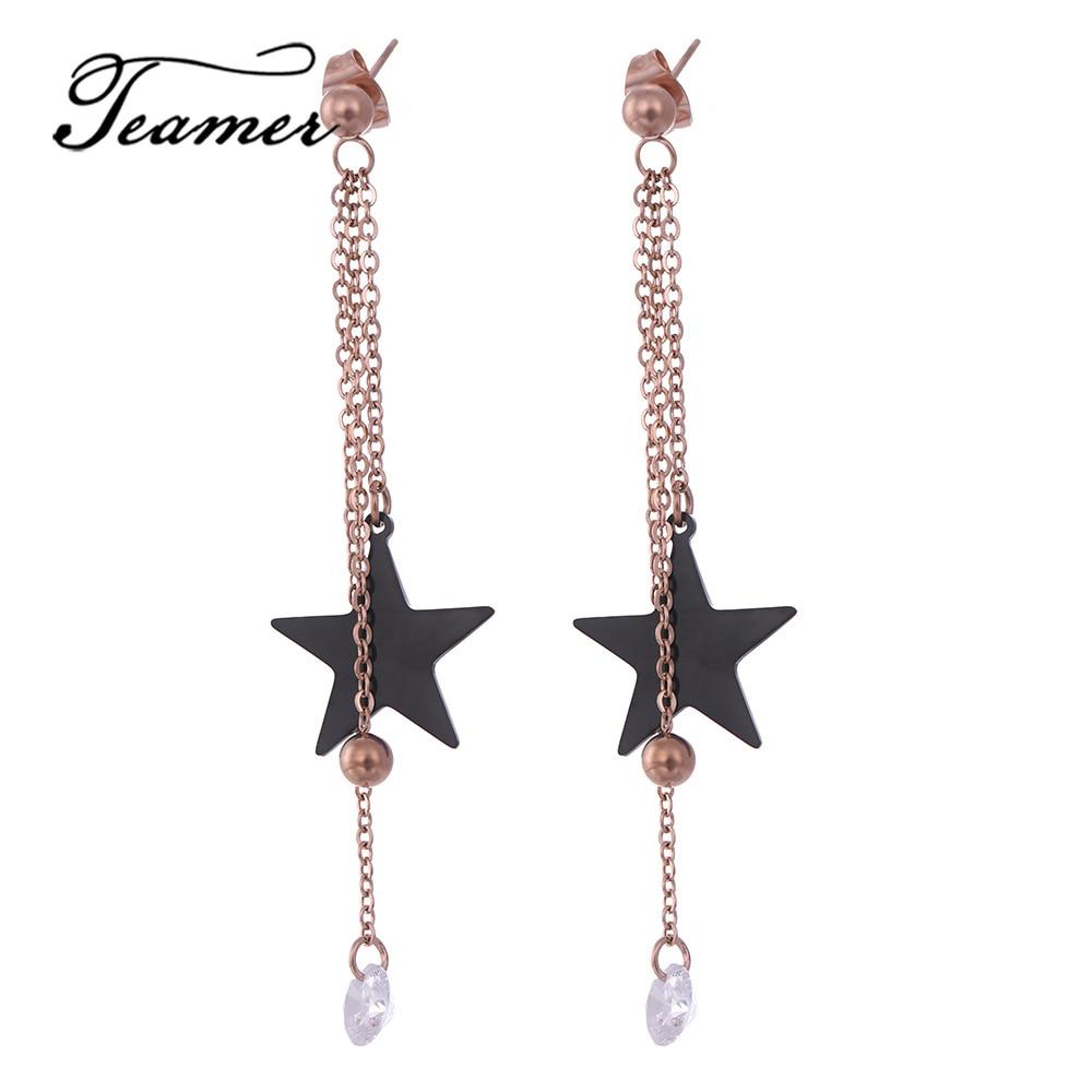 [해외]Teamer  Stainless Steel Zirconia Stone Earrings Women Korean Star Charm Tassel Long Earrings Fashion Party Jewelry/Teamer  Stainless Steel Zirconi