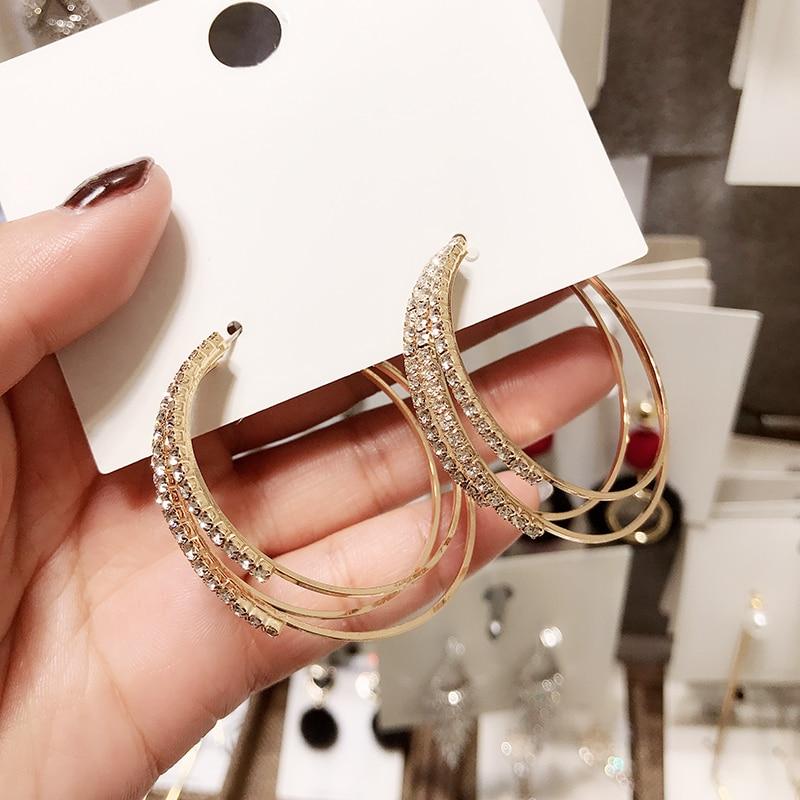 [해외]Classic Crystal  Round Women Dangle Earrings Exaggerated Simple Round Earrings Drop Earrings Jewelry Earrings/Classic Crystal  Round Women Dangle