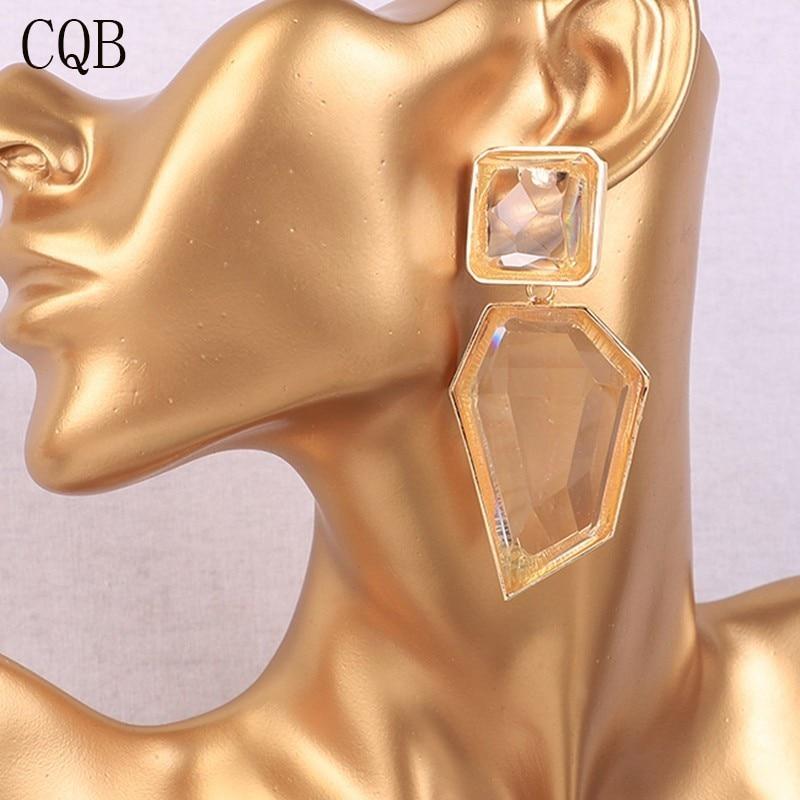 [해외]Acrylic Geometry Long Earrings 2019 Speed Selling Lady Fashion New Jewelry Bohemian Gold Korean Crystal Pendant Unique Statement/Acrylic Geometry