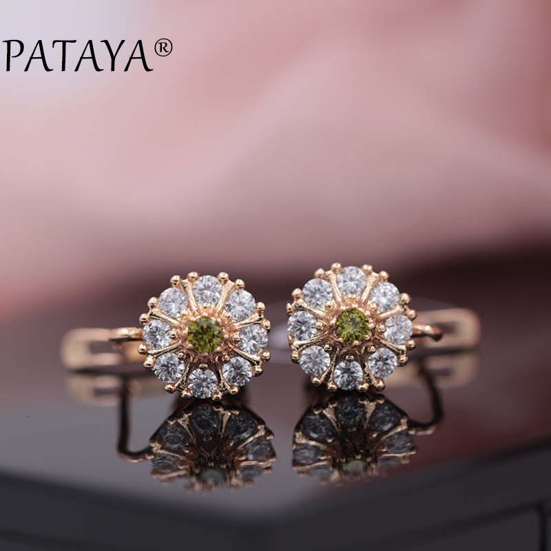 [해외]PATAYA New Lotus Drop Earrings 585 Rose Gold Green Natural Zircon Earrings Women White Wedding Jewelry Bridal Blue Drop Earrings/PATAYA New Lotus