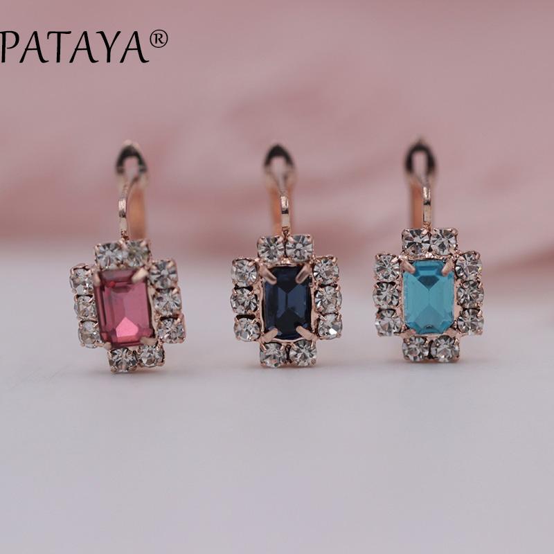 [해외]PATAYA New Arrivals Dark Blue Square Natural Cubic Zirconia Earrings 585 Rose Gold Fine Earrings Women Party Jewelry Accessories/PATAYA New Arriva