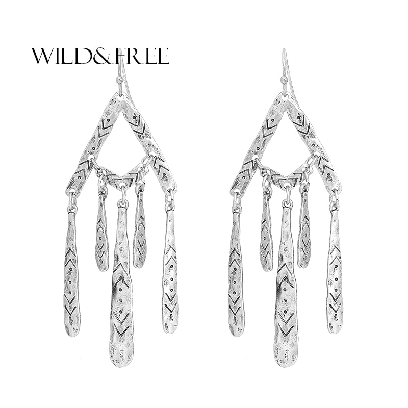 [해외]Wild&Free European Vintage Alloy Statement Chandlier Earrings For Women Fashion Jewelry Unique Court Dangle Drop Long Earrings/Wild&Free E