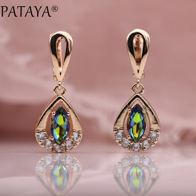 [해외]PATAYA New Trendy 585 Rose Gold AB Water Drop Natural Zircon Long Dangle Earrings Women Wedding Cute Earring Jewelry 12 Colors/PATAYA New Trendy 5