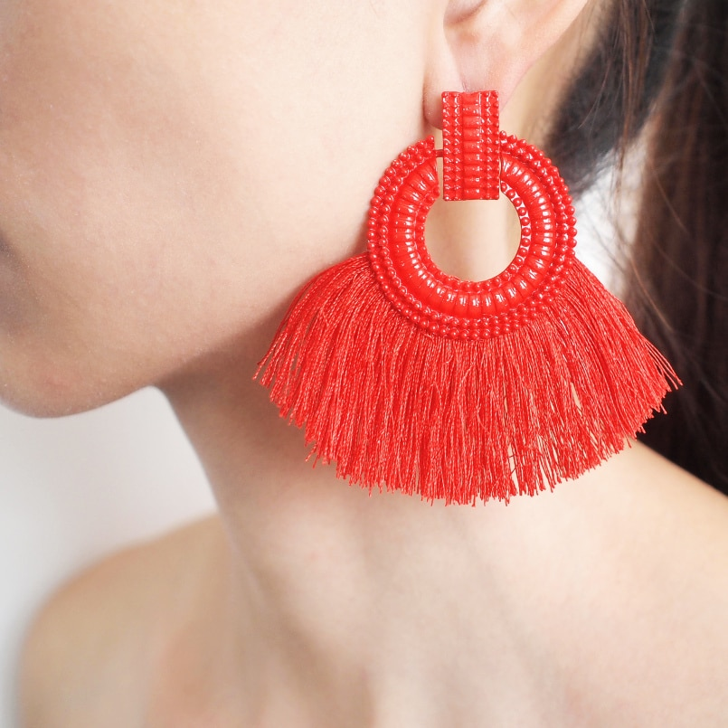 [해외]MANILAI 2018 Fanshaped Cotton Tassels Earrings For Women Bohemia Handmade Alloy Fringed Dangle Earrings Ethnic Jewelry 6 Color/MANILAI 2018 Fansha