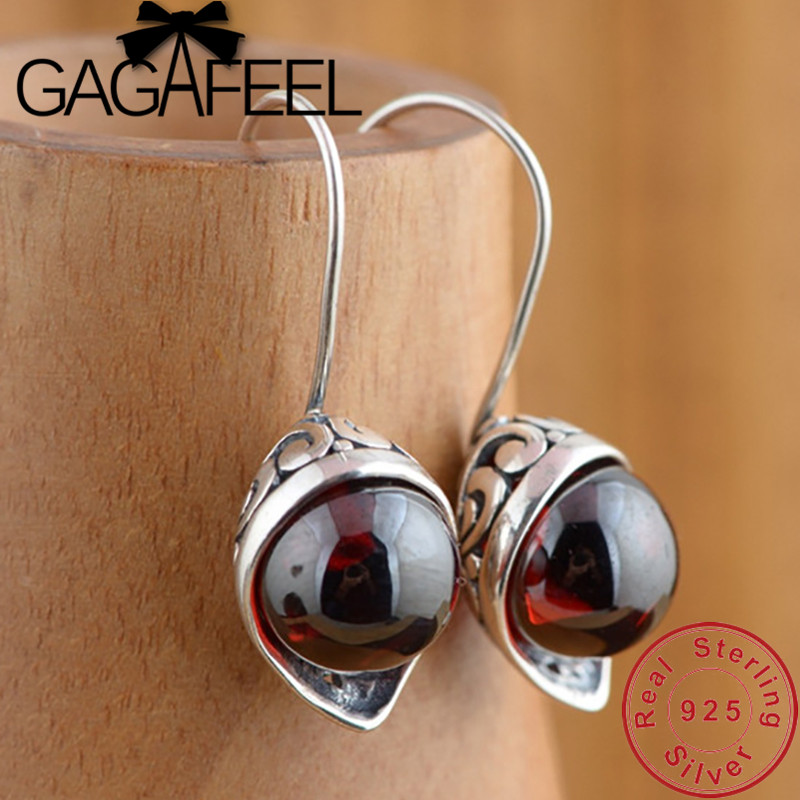 [해외]GAGAFEEL Calla Lily Synthetic Red Zircon Earrings 100% 925 Sterling Silver Earring for Women Female Vintage Jewelry/GAGAFEEL Calla Lily Synthetic
