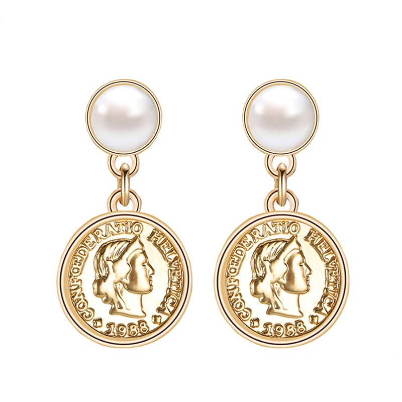 [해외]Peri`sBox Gold Color Portrait Disc Dangle Earrings for Women Minimalist Drop Coin Earrings Geometrical Round Earrings Bijoux/Peri`sBox Gold Color