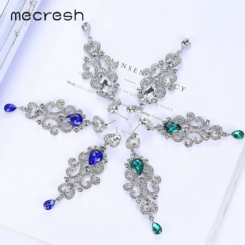 [해외]Mecresh 3 Color Korean Chandelier Bridal Long Earrings for Women Blue Teardrop Crystal Dangle Earrings Wedding Jewelry MEH1145/Mecresh 3 Color Kor