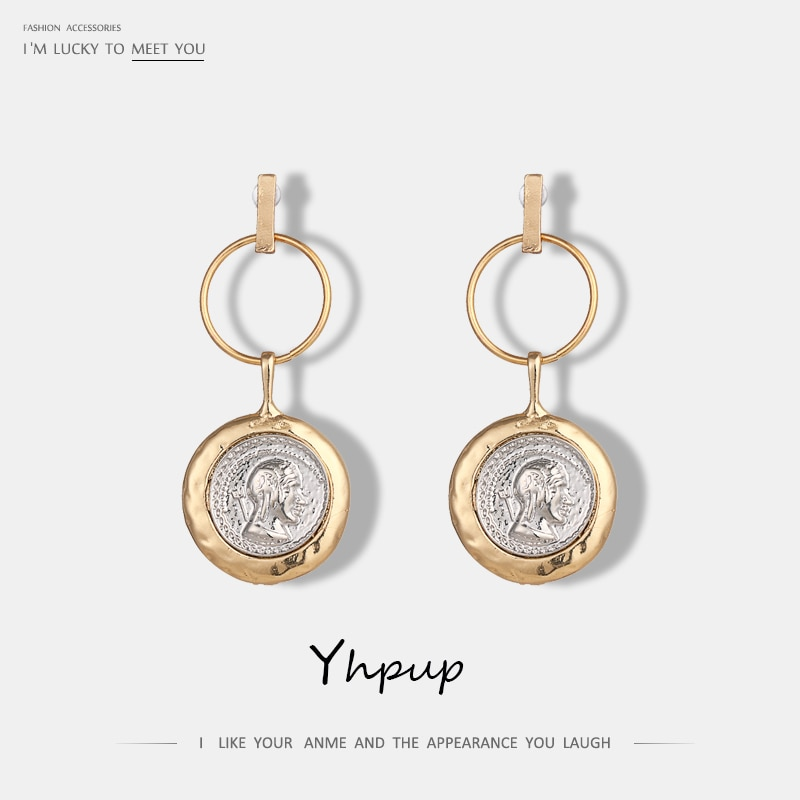 [해외]Yhpup Vintage Round Geometric Dangle Earrings Portrait Zinc Alloy Punk Statement Earrings For Women Party Gift Pendant Jewelry/Yhpup Vintage Round