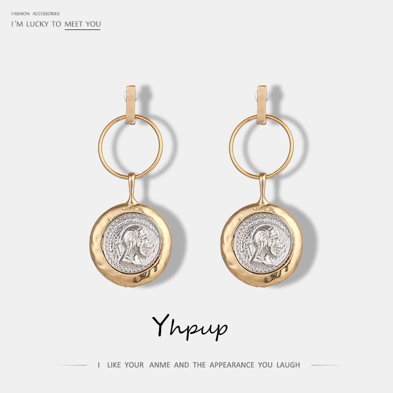 [해외]Yhpup Vintage Round Geometric Dangle Earrings Portrait Zinc Alloy Punk Statement Earrings For Women Party Gift Pendant Jewelry/Yhpup Vintage Round
