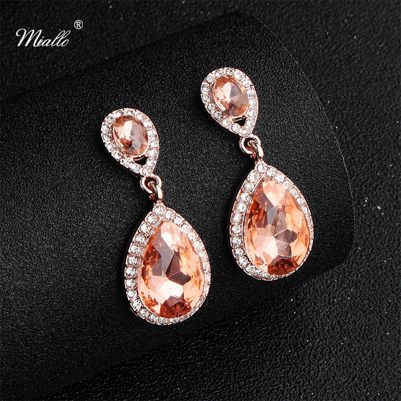 [해외]Miallo 2019 Newest Big Water Drop Crystal Earrings Wedding Party Dance Bride Bridesmaids Earrings Jewelry/Miallo 2019 Newest Big Water Drop Crysta