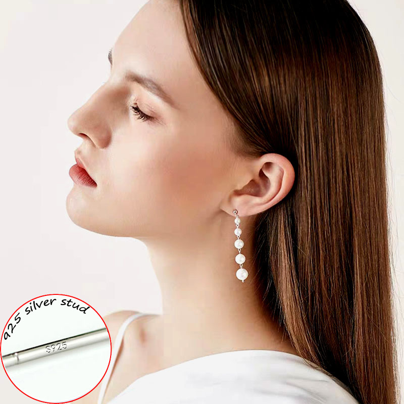 [해외]SINLEERY Elegant Simulated Pearl Earrings Silver Color Long Drop Pearl Earrings For Women Wedding Jewelry ES251 SSC/SINLEERY Elegant Simulated Pea